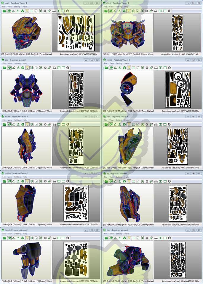 Bumblebee Costume Template / Pattern Pepakura 3D Model