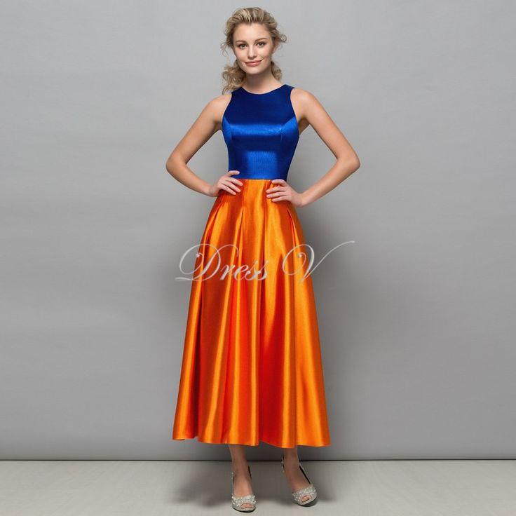 Royal Blue and Orange Designer Evening Dresses 2017 New Tea Length Formal Prom G…
