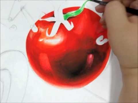 기초디자인 - 토마토&건전지 시범영상 [스카이모듈미술학원] - YouTube