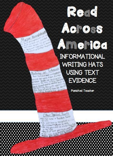 READ Across America: Students design AND create Informational Writing HATS using Text EVIDENCE from a FREE Close Reading Passage on Theodor Geisel!