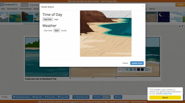 Add a rainy day to your storyboard panel! How to use Storyboard That, the digital storytelling software.   #bloggerresources #tutorial #storyboard #graphicdesign #contentcreation #bloggingtools