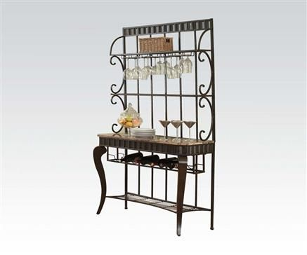 Galiana Transitional Brown Black Marble Metal 2 Sheives Bakers Rack