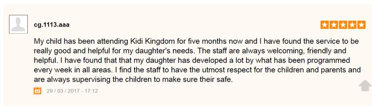 Testimonial from parent about Kidi Kingdom Child Care  #Testimonial #ChildCare #Kindergarten #Children #Child #Kid #Kids #Fun #Happy