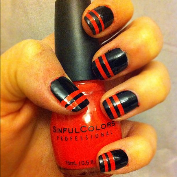 Racing Stripes in Thimbleberry & Black On Black #SinfulColors #Nails