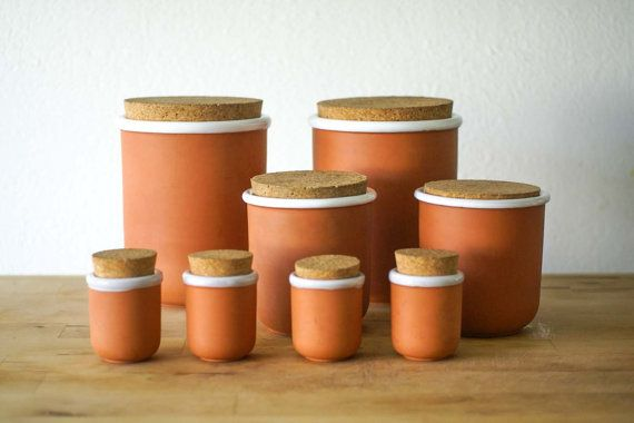 Vintage Ceramic Container Set with Cork Lids -kitchen containers ideal for any vintage modern culinary enthusiast.