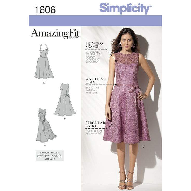 Misses' and Miss Petite dress has princess-seamed bodice, back zip, waistline seam and flared skirt. Halter, jewel neck or sweetheart with lace overlay. Individual patterns for A, B, C and D bust cup sizes included.