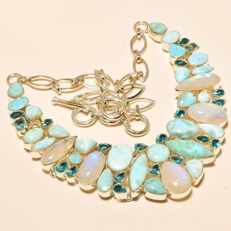"RAINBOW MOON STONE , LARIMAR , BLUE TOPAZ 925 STERLING SILVER NECKLACE 18"" in Jewellery & Watches, Fine Jewellery, Fine Necklaces & Pendants | eBay"