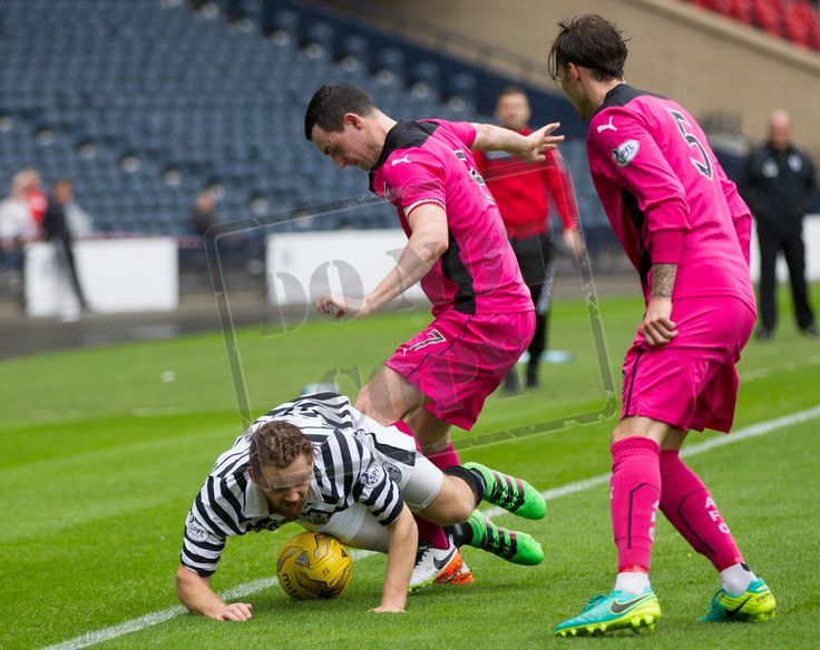 Queen's Park's Aiden Malone brought down during the Ladbrokes League One game between Queen's Park and Airdrieonians.