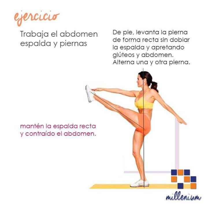 El chiste de este ejercicio es mantener abdomen y glúteos contraídos eso permitirá que no pierdas el equilibrio y que no te lastimes la espalda. Inténtalo!
