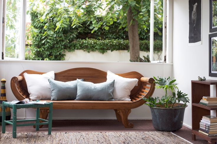 Given pride of place and stripped of its tatty cushions this daybed is now a hero. Styling by PlacesandGraces.
