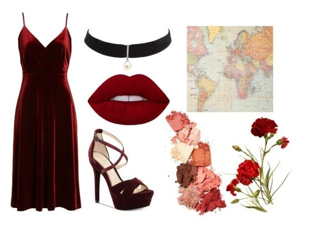 """""""playing with fire"""" by lisalisamarie ❤ liked on Polyvore featuring Ali & Jay, Jessica Simpson, Mateo, Lime Crime, Cavallini & Co., vintage, dance, Flowers, velvet and singer"""