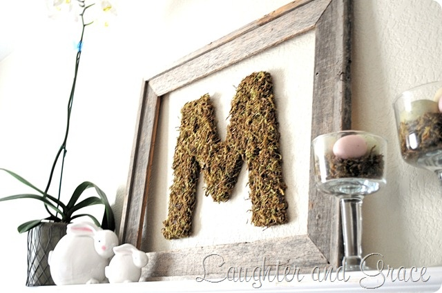 moss covered wooden letter makes nice easter decor.  fill apothecary jars or pedestal bowls with moss and easter eggs.