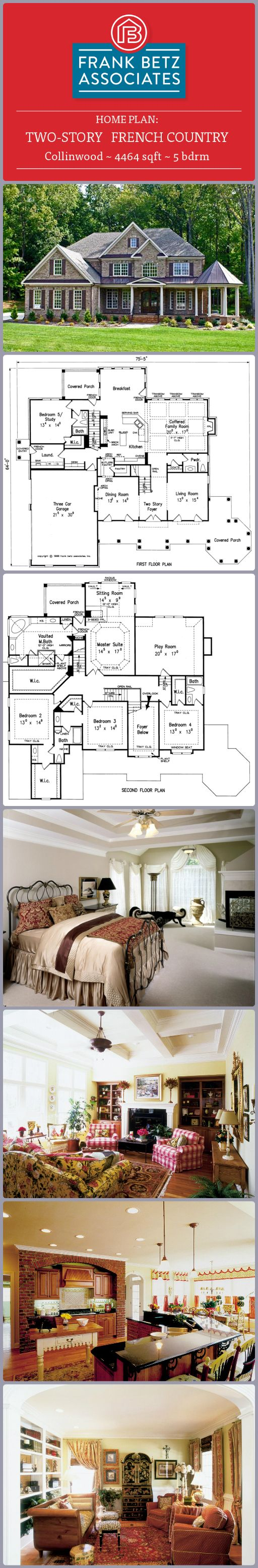 Collinwood: 4464 sqft, 5 bdrm, two-story French Country house plan by Frank Betz Associates, Inc.