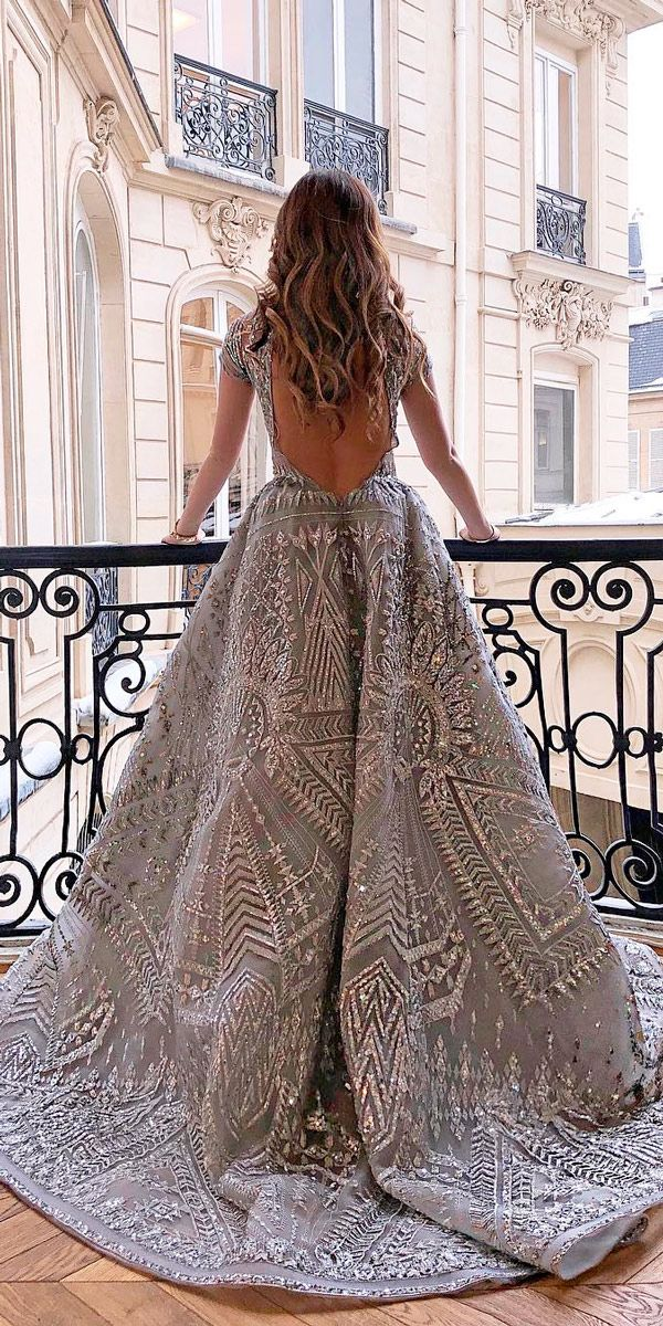 30 Disney Wedding Dresses For Fairy Tale Inspiration ❤ disney inspired wedding dresses a line low back with short sleeves colored zuhair murad official ❤ See more: http://www.weddingforward.com/disney-wedding-dresses/ #weddingforward #wedding #bride