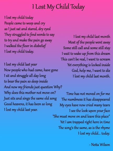 I Lost My Child Today by Netta Wilson