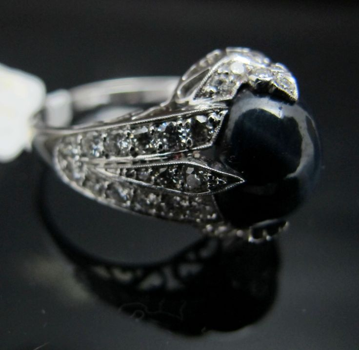 ring - diamonds and star saphire