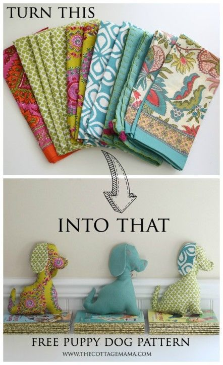 Free Puppy Dog Pattern from The Cottage Mama. Created using cloth napkins. The Cottage Mama