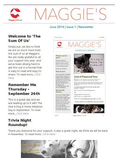 "Maggie's Rescue have released their first Newsletter ""The Sum Of Us"" - check us out!"