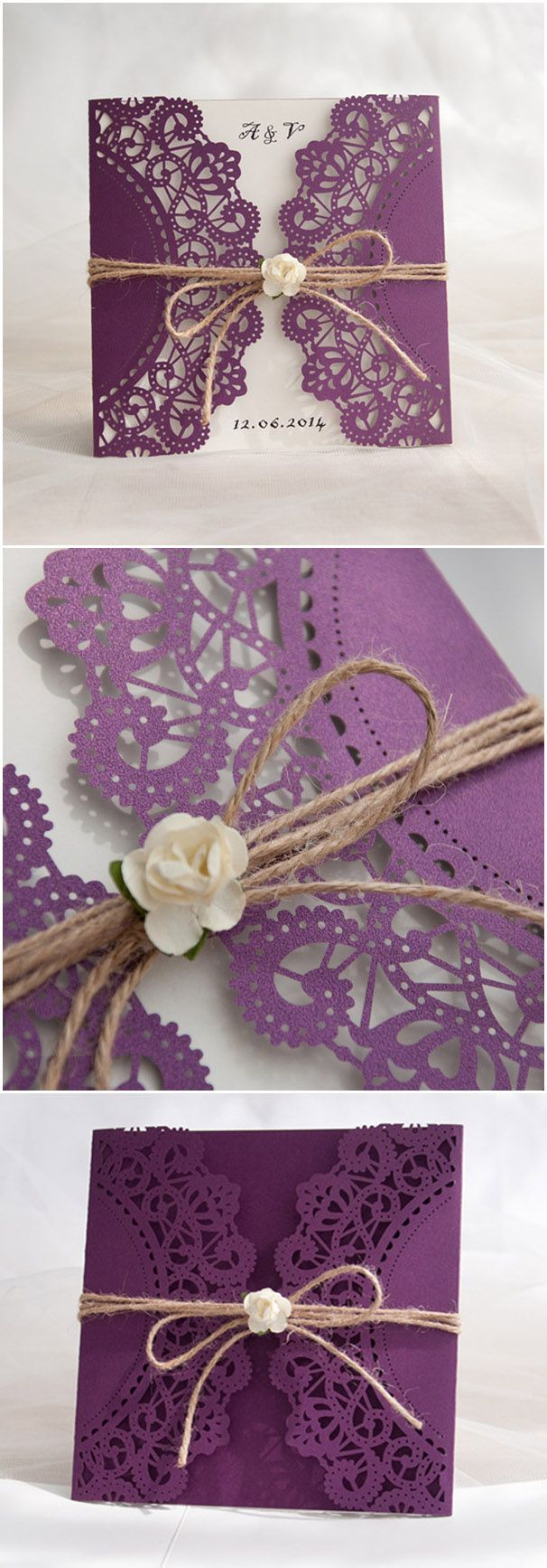 chic rustic purple laser cut wedding invitations for country wedding ideas