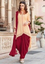 Party Wear Beige Georgette Embroidered Work Patiala Suit