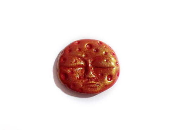Red Moon Cabochon Moon for Peyote Red Clay Cabochon Moon