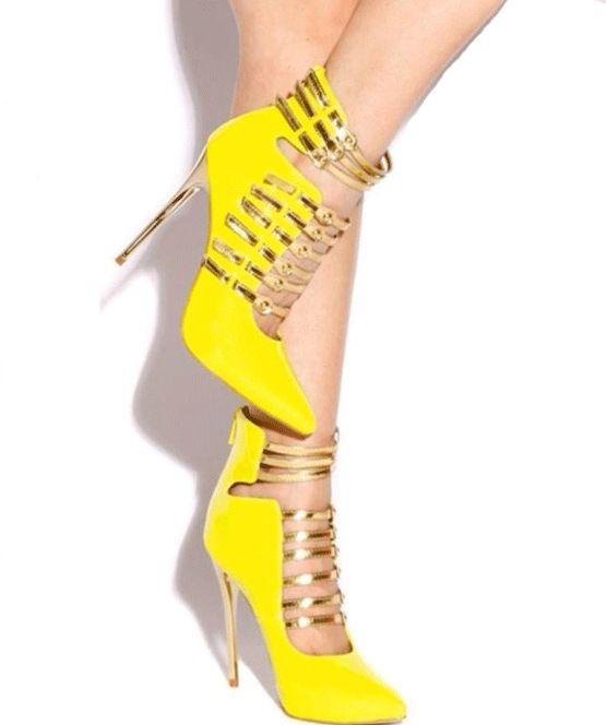 Moda amarelo sapatos de salto alto senhoras sapatos mulheres sexy bombas Salto preto para festa preto vestido sapatos ...