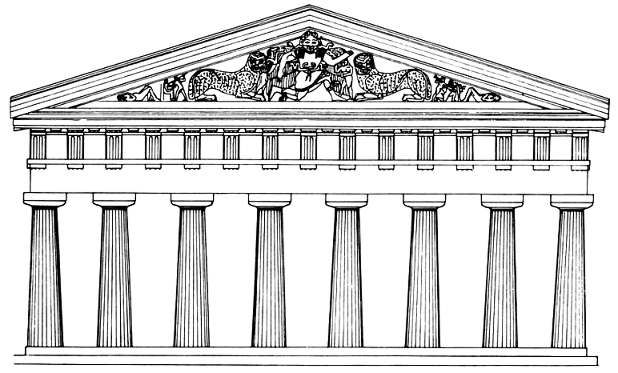 Greek Architecture Drawing reconstruction drawing of the temple of artemis at corfu, greece