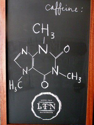 Funny! Chemical formula of Caffeine on the cafe's blackboard