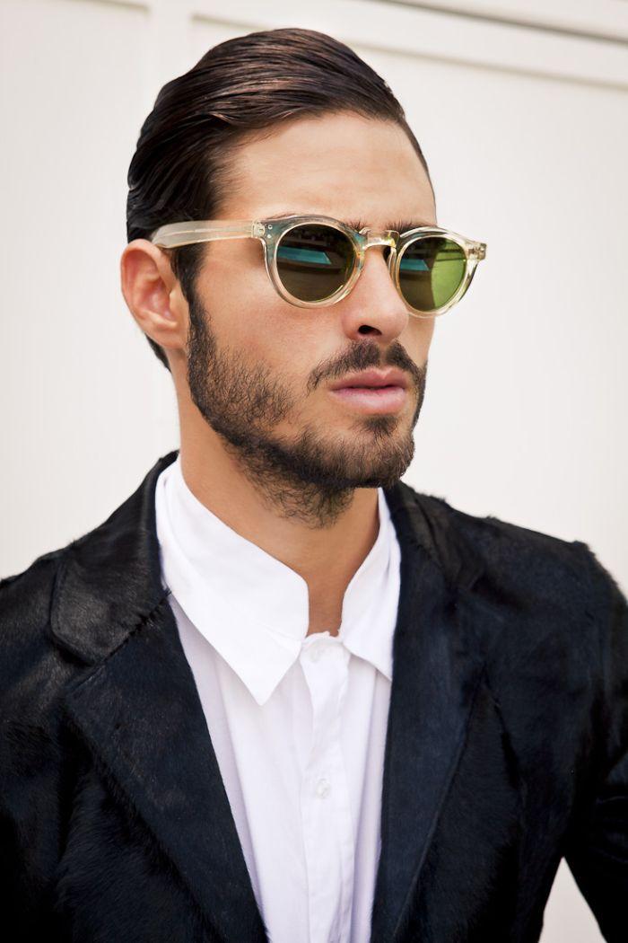 Sunglasses + hair + hairy jacket