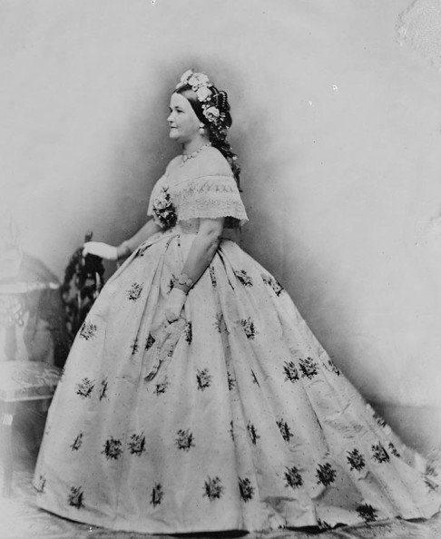 First Lady Mary Todd Lincoln, wife of President Abraham Lincoln wearing the Tiffany seed pearl jewelry suite. Photograph taken at the Washington studio of Mathew Brady.