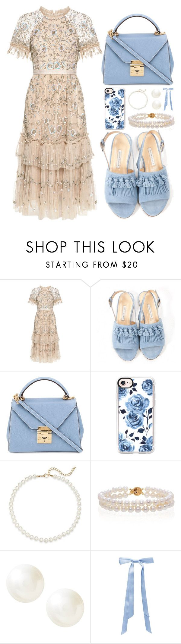 """Baby blue"" by belblackford ❤ liked on Polyvore featuring Needle & Thread, Bionda Castana, Mark Cross, Casetify, Saks Fifth Avenue, Belk & Co., Banana Republic and L. Erickson"