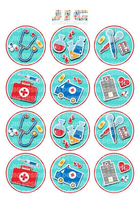 Medcial Theme Printable Cupcake Toppers Doctor Medical Nurse