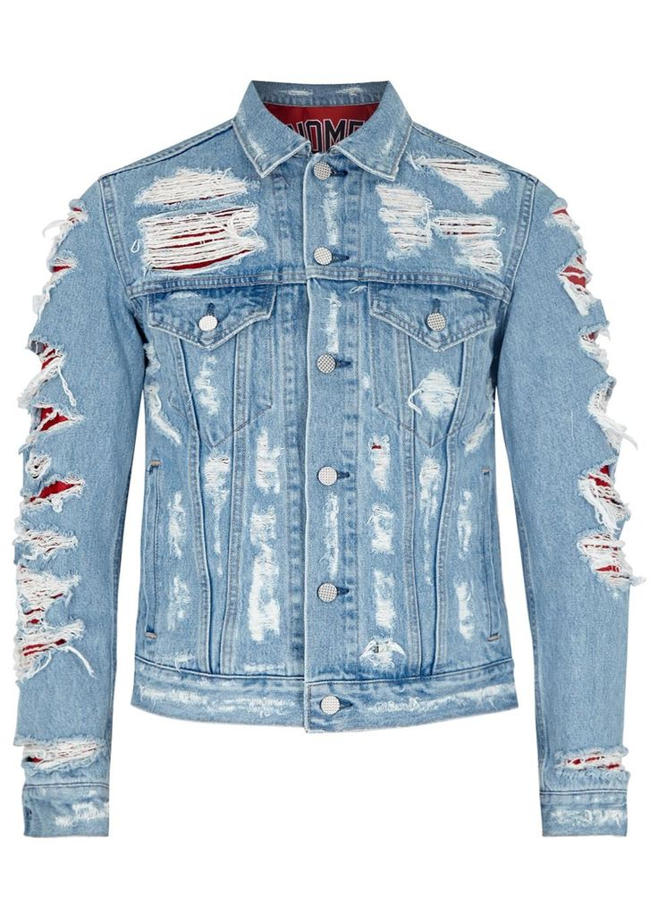 PHENOMENON blue denim jacket Button fastening cuffs, chest pockets, front slip pockets, button fastening tabs at hem, distressed finish, printed mesh lining Button fastenings through front 100% cotton; lining: 100% polyester