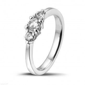 Anillos de Compromiso Diamantes de Oro Blanco - 0.45 quilates anillo trilogía diamante