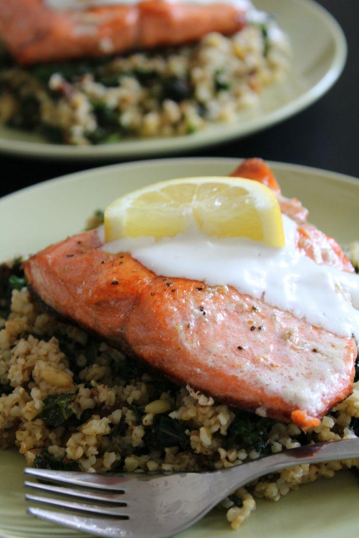 Seared Salmon with Lemon Labneh #ad @blueapron #blueapron