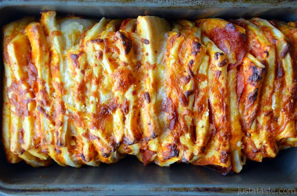 """Pepperoni Pizza Pull-Apart Bread in Pan ~ read the note at the end of the recipe about how she creates a """"dark proofing box"""" to help the dough to rise."""