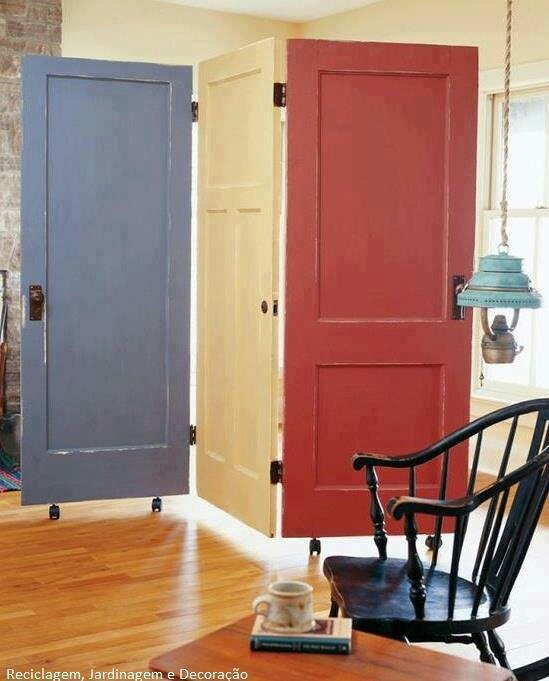 room divider made out of old doors