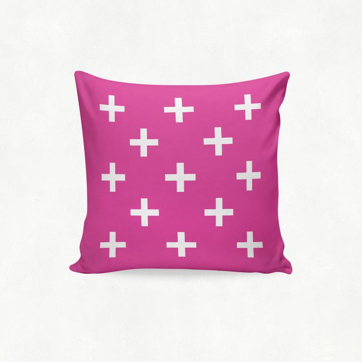IMIMAH #Scandanavian inspired small multi cross outdoor cushion in fuschia pink - $38 + pp - from IMIMAH.co. #cushions #pillows #livingroom #decor