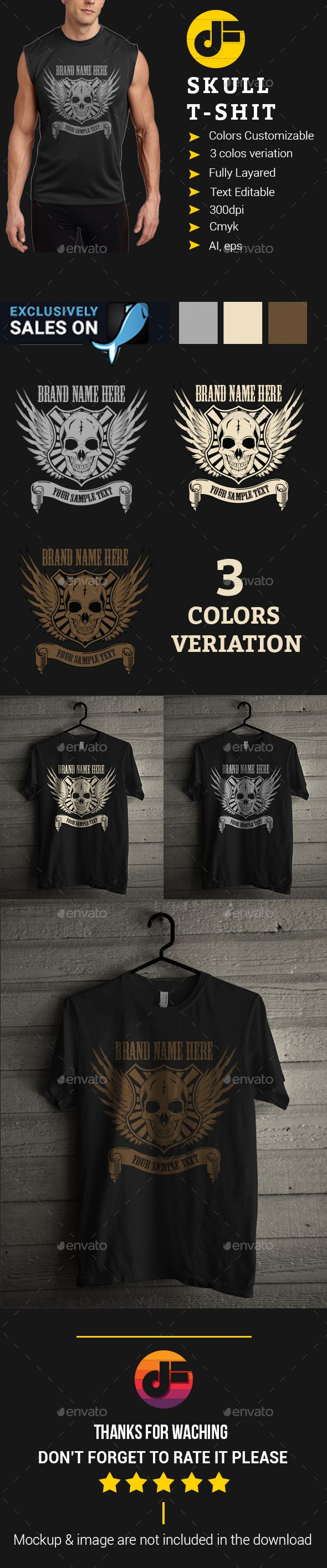 Black t shirt vector ai - Skull T Shirt