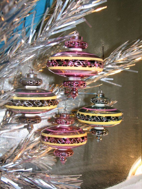 1950s Mid Century Christmas Ornaments by Bradford - Space Age, Eames Era, Flying Saucers - Aluminun Trees. via Etsy
