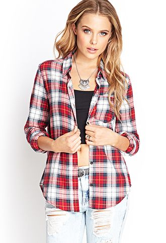 Plaid Flannel Button Down   FOREVER21 - 2000105029 Can I have it plzz