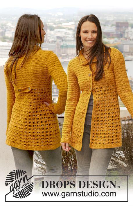 """Free pattern: Crochet DROPS jacket with lace pattern in """"Karisma"""". Size: S - XXXL."""