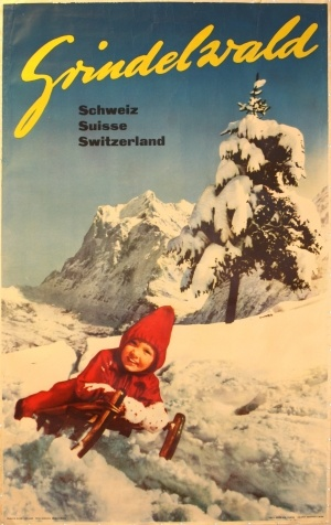 "Grindelwald, 1955 - original vintage poster by Schudel listed on AntikBar.co.uk I stayed at a schoolhouse on the side of Mount Mannlichen above Grindelwald.  It's where the James Bond movie ""on Her Majesty's Secret Service"" was filmed."