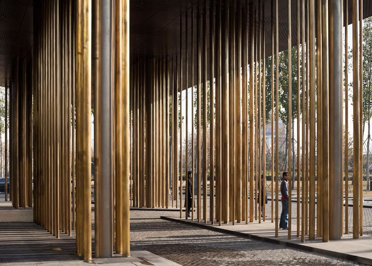 Le Meridien hotel by Neri&Hu with glass boxes and bronze columns