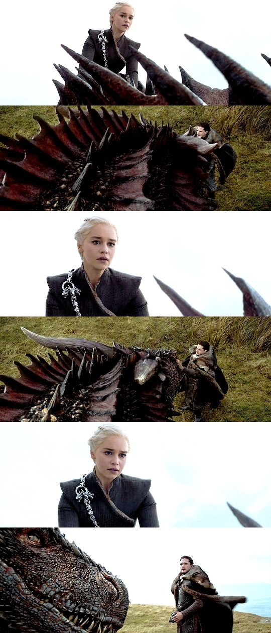 Daenerys Targaryen's reaction to Drogon accepting Jon Snow