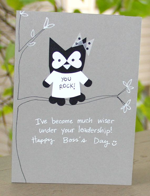 Boss's Day is Octoberc16th :)  Wise Leader Boss's Day Card by thepaperhugfactory on Etsy.  Super cute owl card!