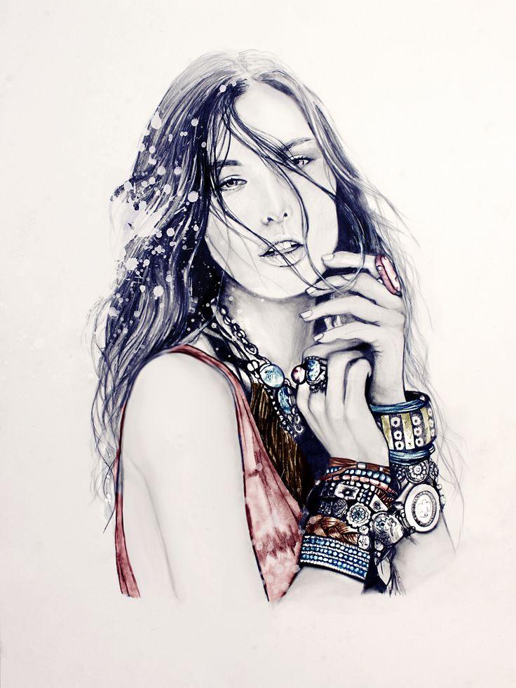 Bohemian! #illustration #fashion #fashionillustration #hippies #style #bohemian #freepeople #accessories #fashionart #drawing #boho #hippie #artwork #portrait #beauty #sketch