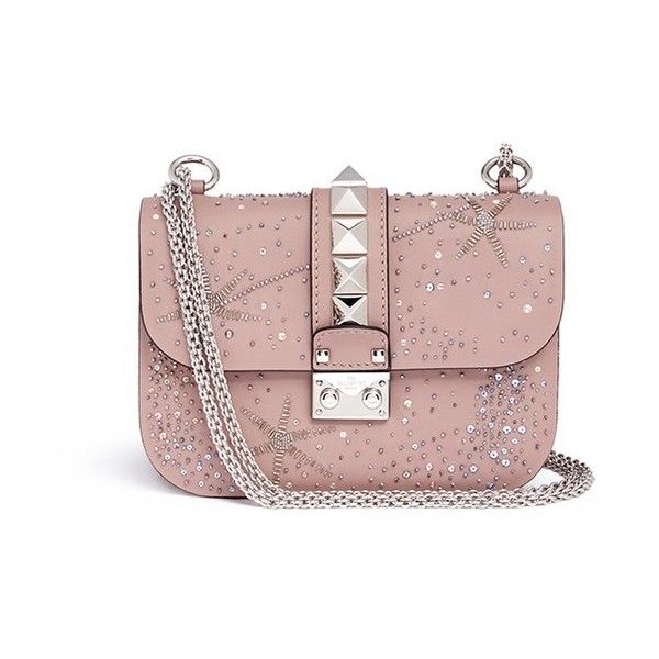 Valentino 'Rockstud Lock' small galaxy embellished leather chain bag ($3,565) ❤ liked on Polyvore featuring bags, handbags, neutral, genuine leather handbags, pink handbags, genuine leather purse, pink purse and kiss-lock handbags