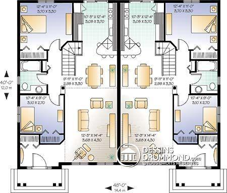 59 best Modèles de maison Jumelée, Plans de Duplex, Plans de Triplex - plan maison une chambre