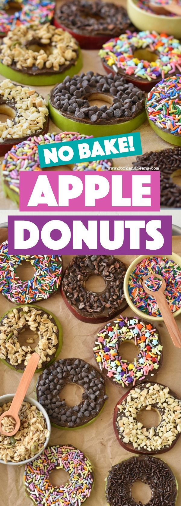 These easy, no bake apple donuts are the perfect after school snack for kids, full of healthy and good-for-you ingredients.